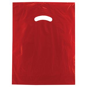 "Red, Gloss Christmas Plastic Merchandise Bags, 12"" x 15"""