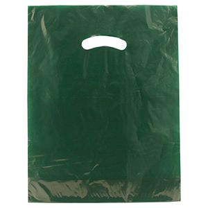 "Dark Green, Gloss Christmas Plastic Merchandise Bags, 12"" x 15"""