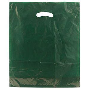 "Dark Green, Gloss Christmas Plastic Merchandise Bags, 15"" x 18"" + 4"""