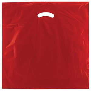 "Red, Gloss Christmas Plastic Merchandise Bags, 18"" x 18"" + 4"""