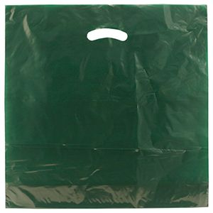 "Dark Green, Gloss Christmas Plastic Merchandise Bags, 18"" x 18"" + 4"""