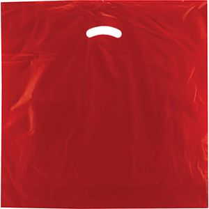 "Red, Gloss Christmas Plastic Merchandise Bags, 20"" x 20"" + 5"""