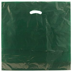 "Dark Green, Gloss Christmas Plastic Merchandise Bags, 20"" x 20"" + 5"""