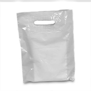 White, Large Patch Handle Plastic Merchandise Bags