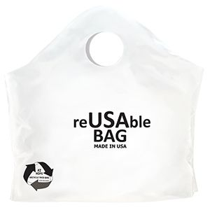 """Superwave Carryout Bags, ReUSAble White, 2.25 Mil, 18"""" x 16"""" + 9"""""""