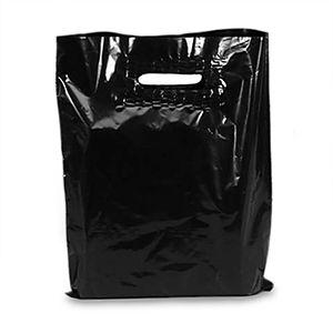 Black, Large Patch Handle Plastic Merchandise Bags