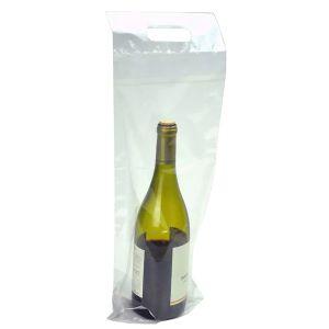 "Plastic Wine To-Go Bag, 7"" x 19"" + 3-1/2""BG + 1-1/4""FB, 2.5 Mil, Clear"