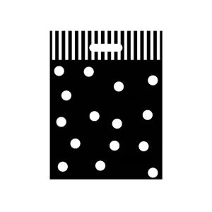 """Medium Plastic Shopping Bag, Tuxedo, 12"""" x 16"""" x 2"""""""