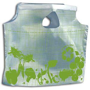 "Grab and Go Bag, Vegetable Print, Green, 11"" x 10"" + 3.5"""