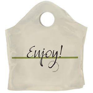 "Superwave Carryout Bags, 'Enjoy', Cream, 1.25 Mil, 18"" x 16"" + 9"""
