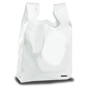"""T Shirt Bag, Frosted Clear, 20"""" x 10"""" x 28"""""""