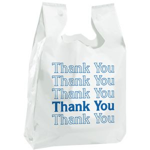 "T Shirt Thank You Bag, White, 11.5"" x 6.5"" x 21.5"""