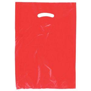 "Red, Plastic Merchandise Bags, 12"" x 3"" x 18"""