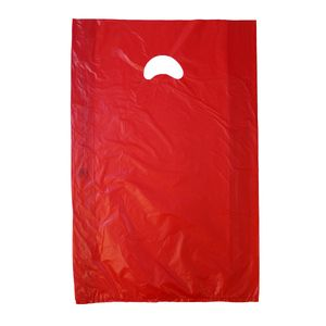 "Red, Plastic Merchandise Bags, 13"" x 3"" x 21"""