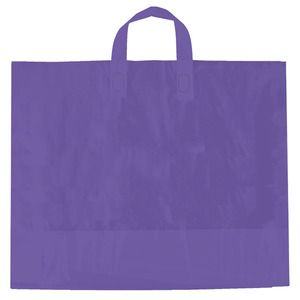 "Purple, AmeriTote HD Plastic Shopping Bags, 16"" x 15"" + 6"""