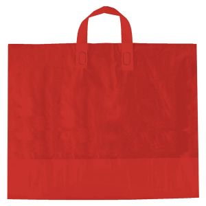 "Red, AmeriTote HD Plastic Shopping Bags, 16"" x 15"" + 6"""