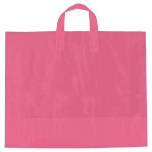 "Pink, AmeriTote HD Plastic Shopping Bags, 16"" x 15"" + 6"""