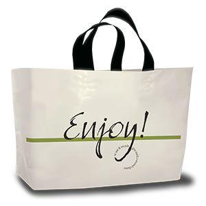 "Ameritote Soft Loop Carryout Bags, 'Enjoy', Cream, 2 Mil, 24"" x 14"" + 11"""