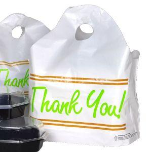 """Wave Top Takeout Bag, 'Thank You', White, 24""""L x 20""""W x 11""""H, 1.5 Mil"""
