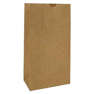 """#2 Brown recycled paper grocery bags, 4-1/4"""" x 2-3/8"""" x 8-3/16"""""""