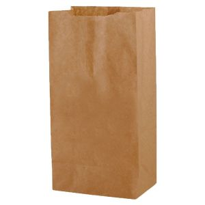 """#4 Brown recycled paper grocery bags, 5"""" x 3-1/8"""" x 9-5/8"""""""