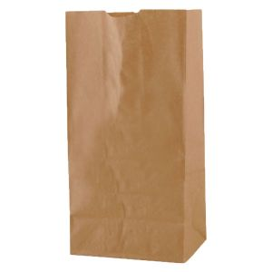 """#8 Brown recycled paper grocery bags, 6-1/4"""" x 3-13/16"""" x 12-1/2"""""""
