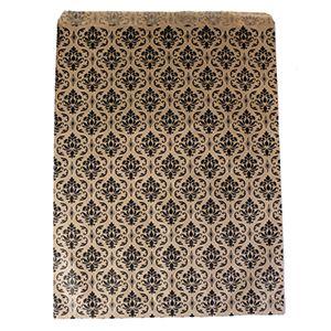 "Paper Merchandise Bags, Damask Kraft Design, 6"" x 9"""