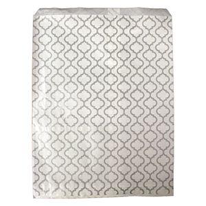 """Paper Merchandise Bags, Trellis Silver Design, 6"""" x 9"""""""
