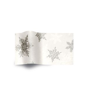 Pearl/Silver Snowflake, Holiday & Christmas Printed Tissue Paper