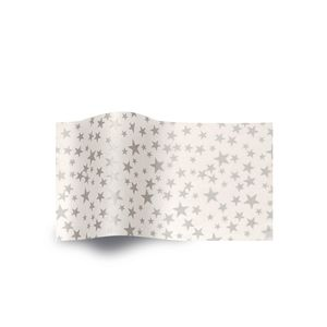 Silver Stars on White, Holiday & Christmas Printed Tissue Paper
