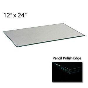"""3/8"""" Tempered Shelf Glass Square Corners, 12"""" x 24"""""""