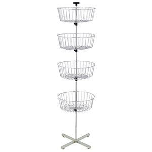 """4 Tier Wire Basket, Floor Spinner, 63"""""""