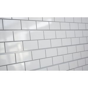 3D Textured Slatwall, Subway Tile White with grey grout, 2' x 8'