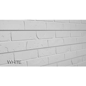 3D Bricks Textured Slatwall, White