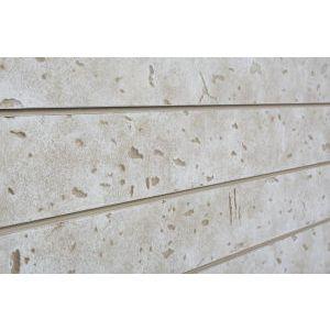 3D Cement Textured Slatwall, Bleached Grey