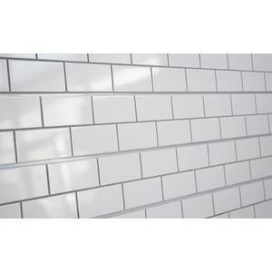 3D Subway Tile Textured Slatwall, White