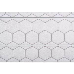 3D Textured Slatwall, Honeycomb Light Grey, 2' x 8'