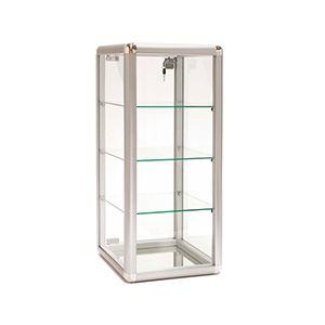 "Display Case, Aluminium / Glass Countertop, 14"" x 12"" x 27"""