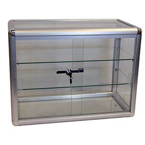 "Display Case, Aluminium / Glass Countertop, 24"" x 12"" x 18"""
