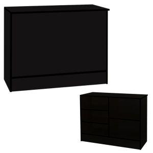 4' Black, Ready-to-assemble, Wrap counter