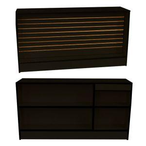 6' Black, Ready-to-assemble, Wrap counter