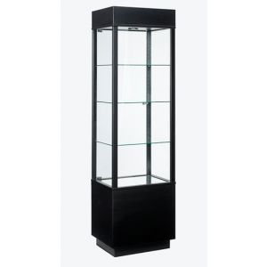 Rectangle, Museum Style Tower Display with storage, with Lights