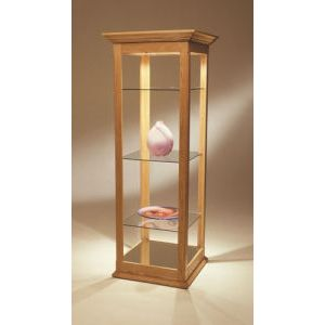 6', E'Tagere Open Shelf Display with Mirror Bottom & Crown Molding, with Lights