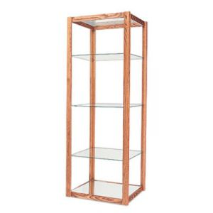 6', E'Tagere Open Shelf Display with Mirror Bottom, with Lights