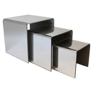 "Mirrored Acrylic Riser Set of 3, 3"", 4"", 5"""