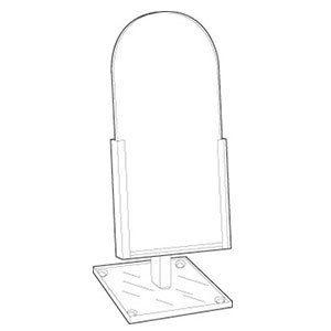 "Acrylic Domed Countertop Glass Mirror, 6"" x 12"""