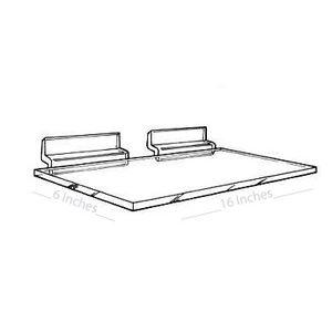 "1/4"" Acrylic Slatwall Shelves, 16"" x 6"""