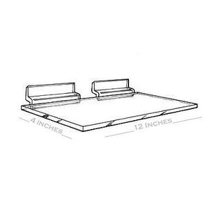"3/16"" Acrylic Slatwall Shelves, 12"" x 4"""