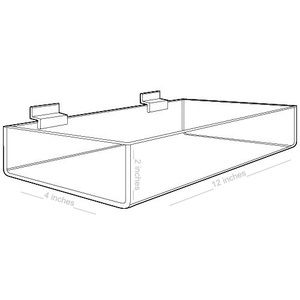 "Acrylic Slatwall Display Trays, 12"" x 4"" x 2"""