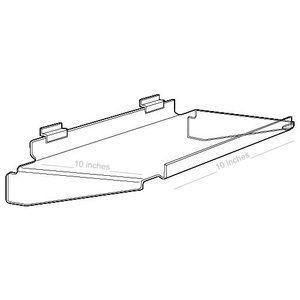 "Acrylic Slatwall Flat Braced Shelves with Front Lip, 10"" x 10"""